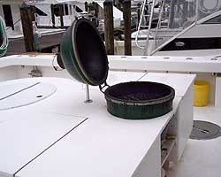 This is the Big Green Egg Grill that you have heard us talk about.  It is the finest grill ever made.  No more cold sandwiches for us!
